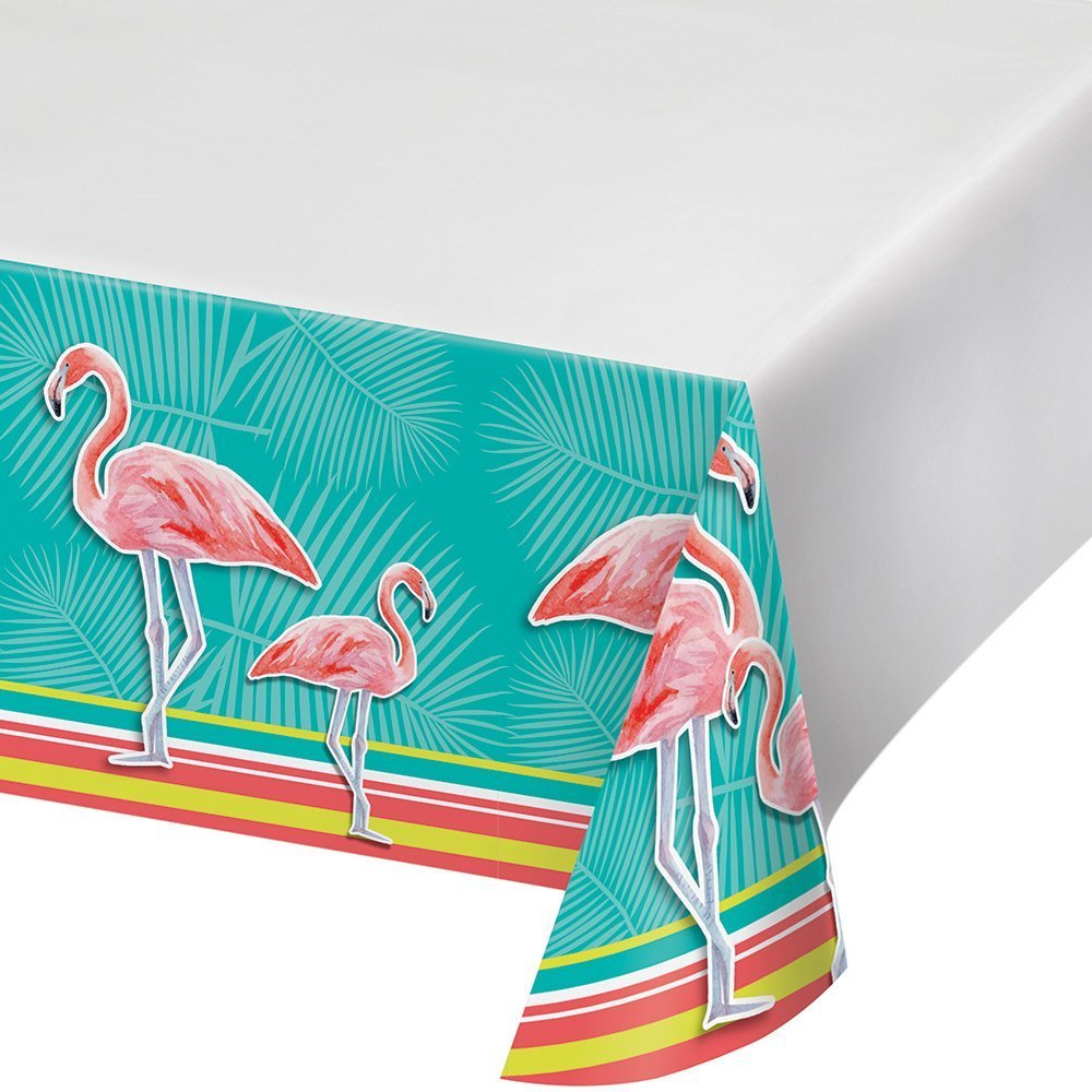 Creative Converting 319989 Border Print Plastic Tablecover, 54 x 102, Island Oasis (2-PacK)