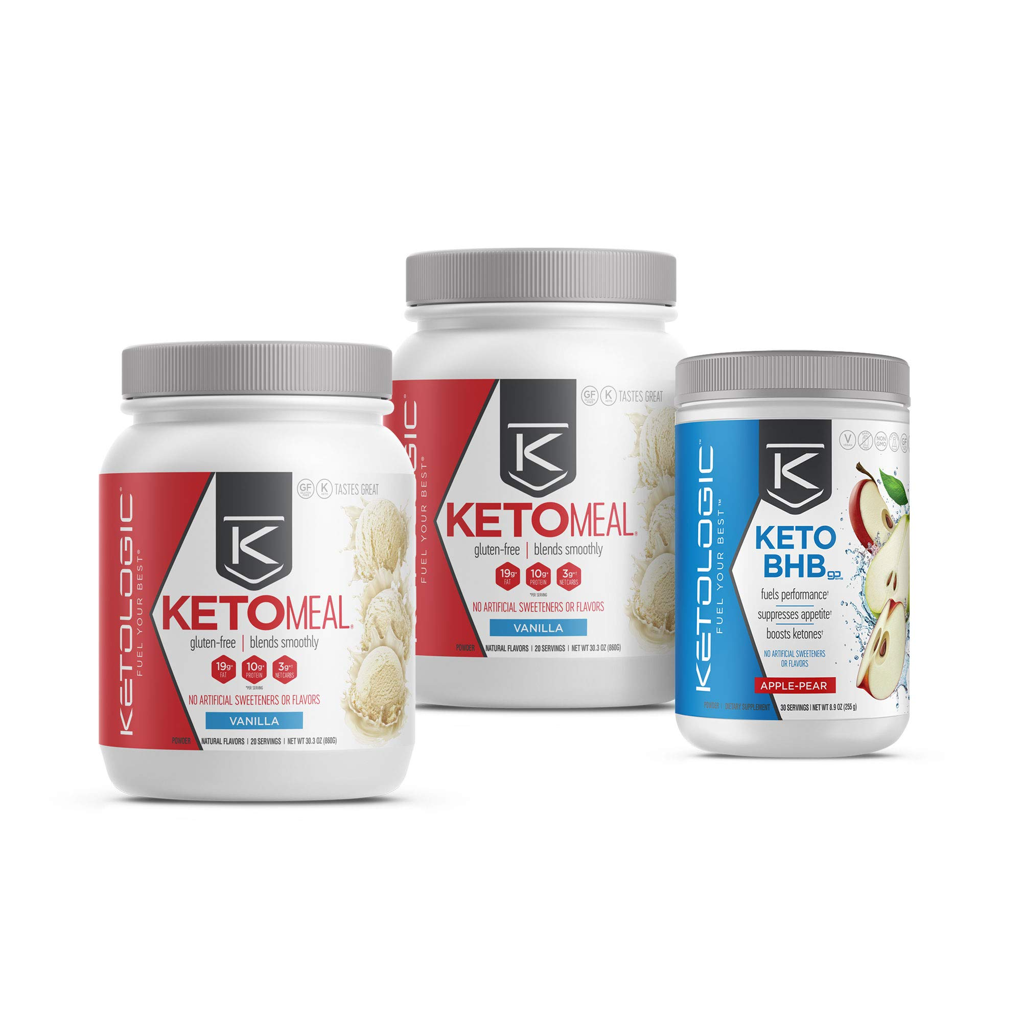 KetoLogic Keto 30 Challenge Bundle, 30-Day Supply | Includes 2 Meal Replacement Shakes with MCT [Vanilla] & 1 BHB Salt [Apple-Pear] | Suppresses Appetite, Promotes Weight Loss & Increases Energy by Ketologic