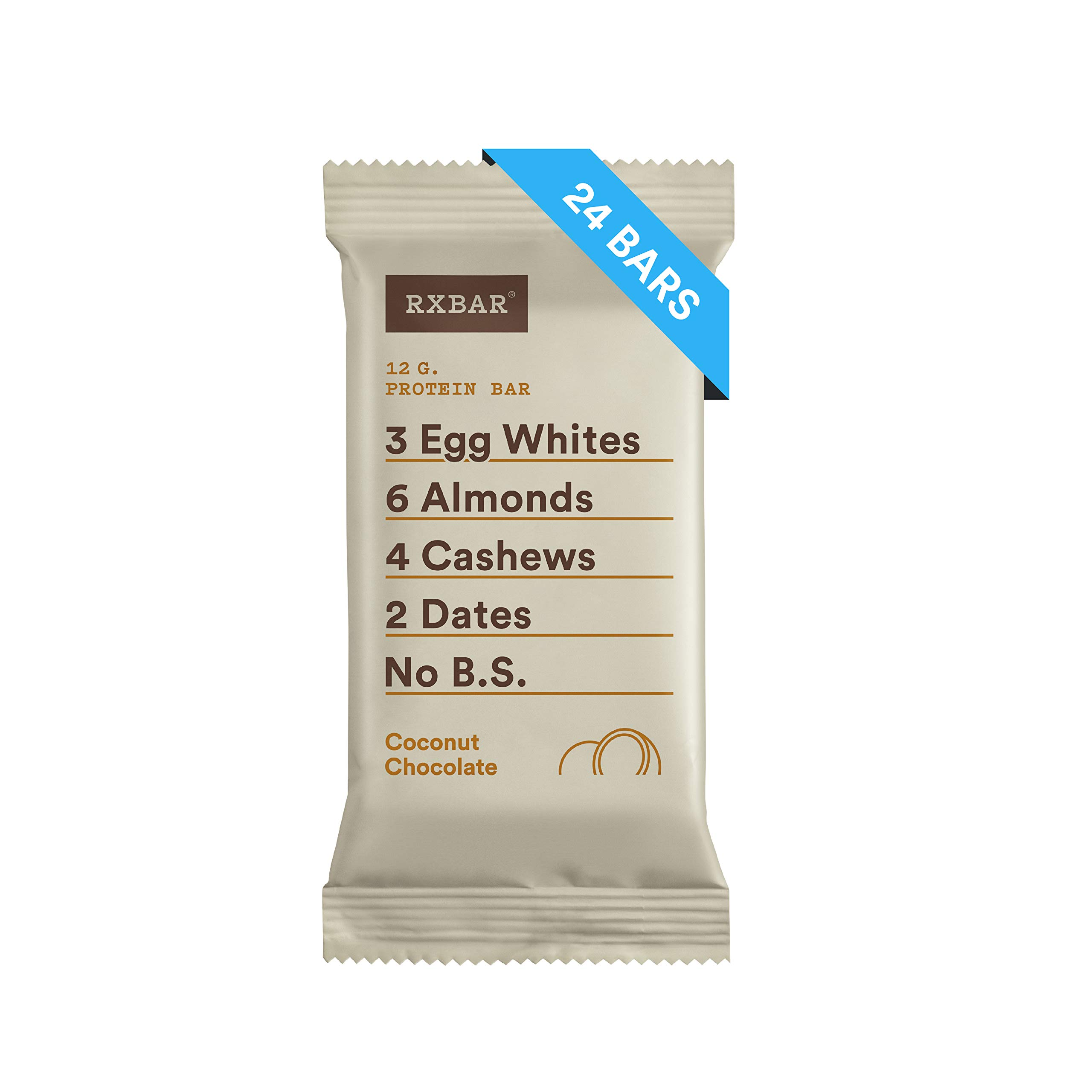 RXBAR Real Food Protein Bar, Coconut Chocolate, Gluten Free, 1.83oz Bars, 24 Count