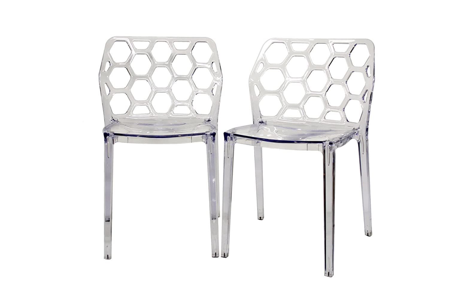 acrylic dining chairs clear. amazon.com: baxton studio honeycomb acrylic modern dining chair, set of 2, clear: kitchen \u0026 chairs clear s