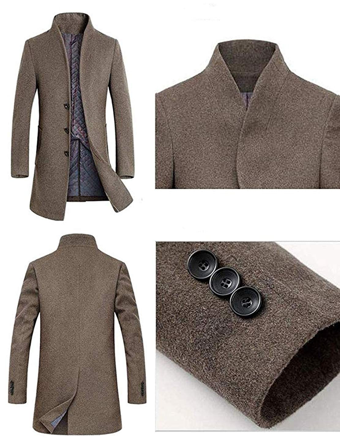 Mens Winter Stylish Wool Trench Coat Business Slim Fit Long Peacoat Top Coat