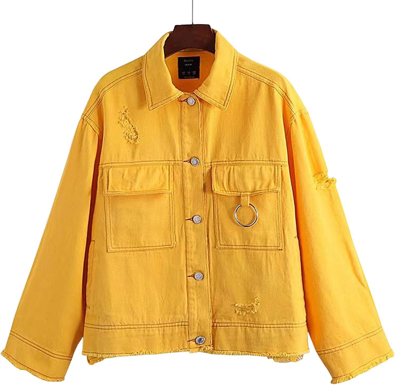 Yimoon Womens Ripped Distressed Oversized Denim Jacket Frayed Hem Jean Coat