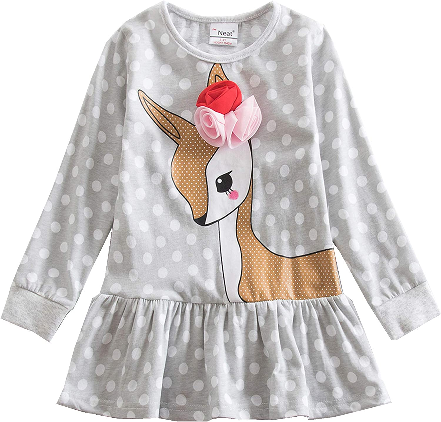 Kids Girls Long Sleeve Dress Party Cartoon Cotton Princess Tutu Clothes Age 3-8