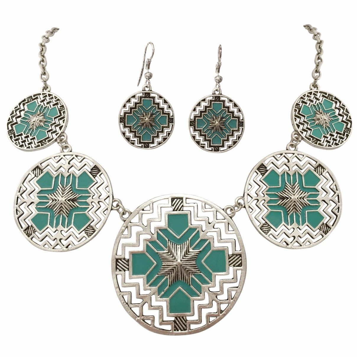 Aztec 5 Disk Cutout Southwestern Look Silver Tone Boutique Style Necklace Earrings Set (BLUE)