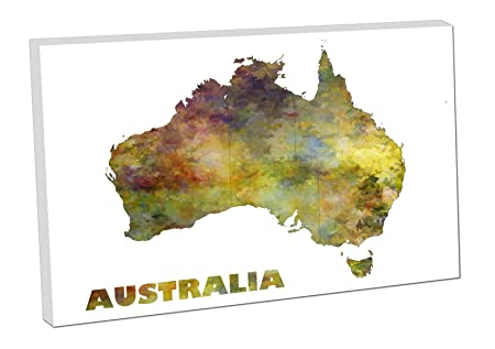 print paint watercolour canvas easy hang map art australian continent australia forest yes text 24x16 inch