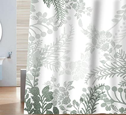 Sunlit Designer Elegant Floral Print Shower Curtain Gray Green And White Natural Flowers Leaves Herbs Grass
