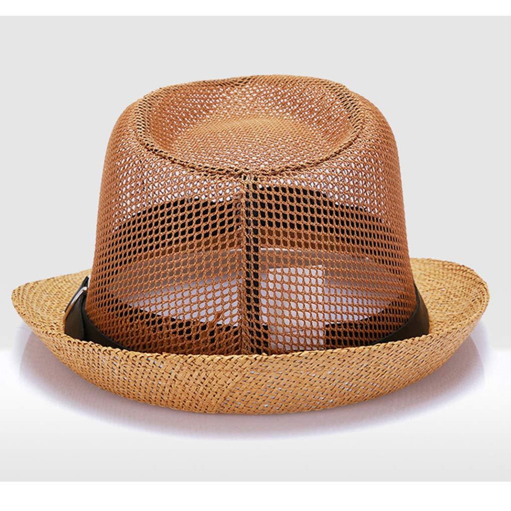 UHAoo Degli Uomini di Estate di Lino di Paglia Rotonde Cappelli di Sun del Bordo Largo Pieghevole Tappi di Protezione UV Cappelli della Spiaggia di Viaggio Giornaliero