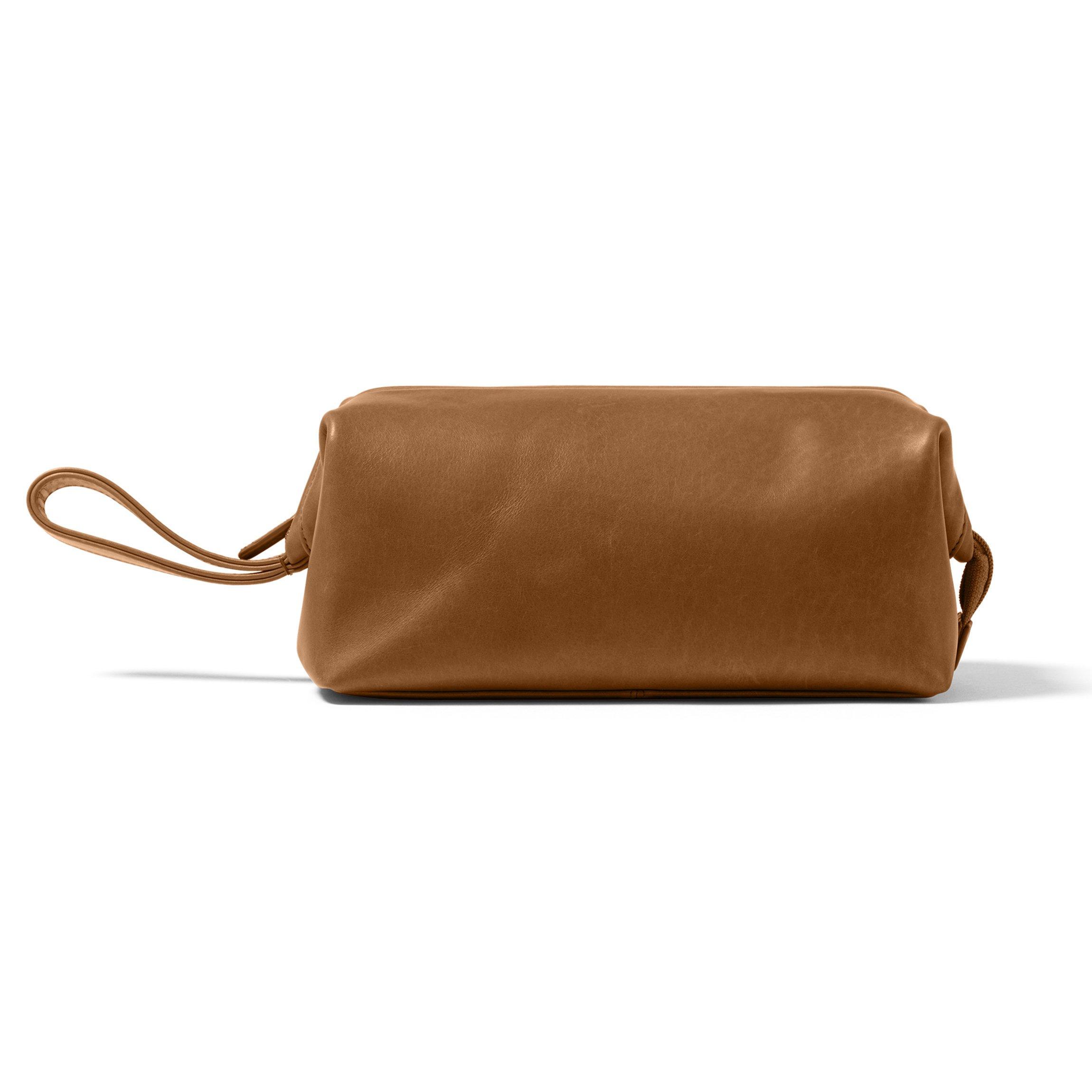 Leatherology Framed Toiletry Bag - Full Grain German Leather Leather - Dark Caramel (brown)
