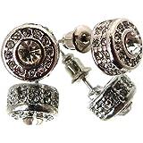 Boucles d'oreilles de ton argent couvertes de pierres claires MER1033