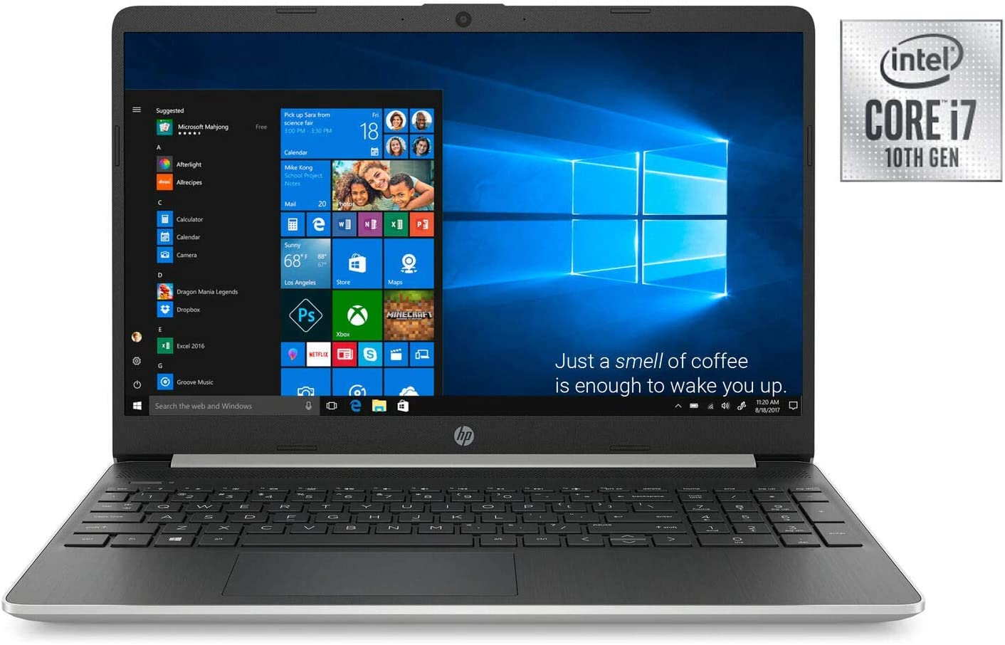 HP 15t Laptop PC 15.6 Inch HD WLED 256GB SSD + 16GB Intel Optane Laptop (i7-1065G7, 8GB RAM, Iris Plus Graphics, Windows 10 Home, Silver) 15-dy1071wm (Renewed)