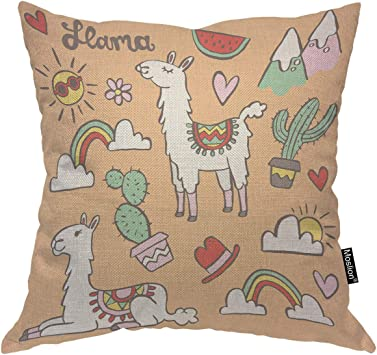 Cartoon Animal Cotton Linen Throw Pillow Cover Home Decorative Insert Not Include G01 Crazy Cart Decorative Pillows Inserts Covers Bedding