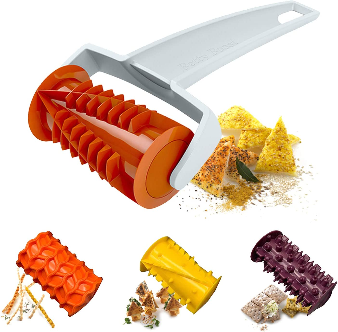 Biscuit Roller Cutter, Cookie Pizza Pastry Lattice Cutting tool , 4 Different Gears Embosser Set for Household Baking