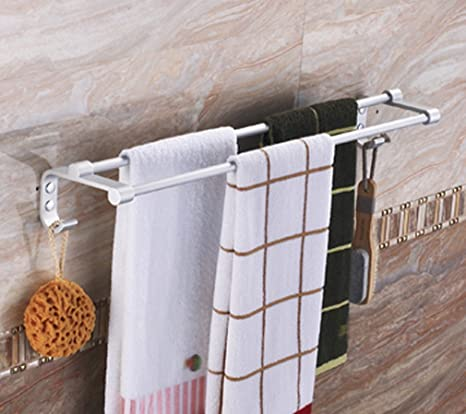 ZXC Bathroom racks Espacio de Varilla de Aluminio con Doble Barra de Toalla de baño,