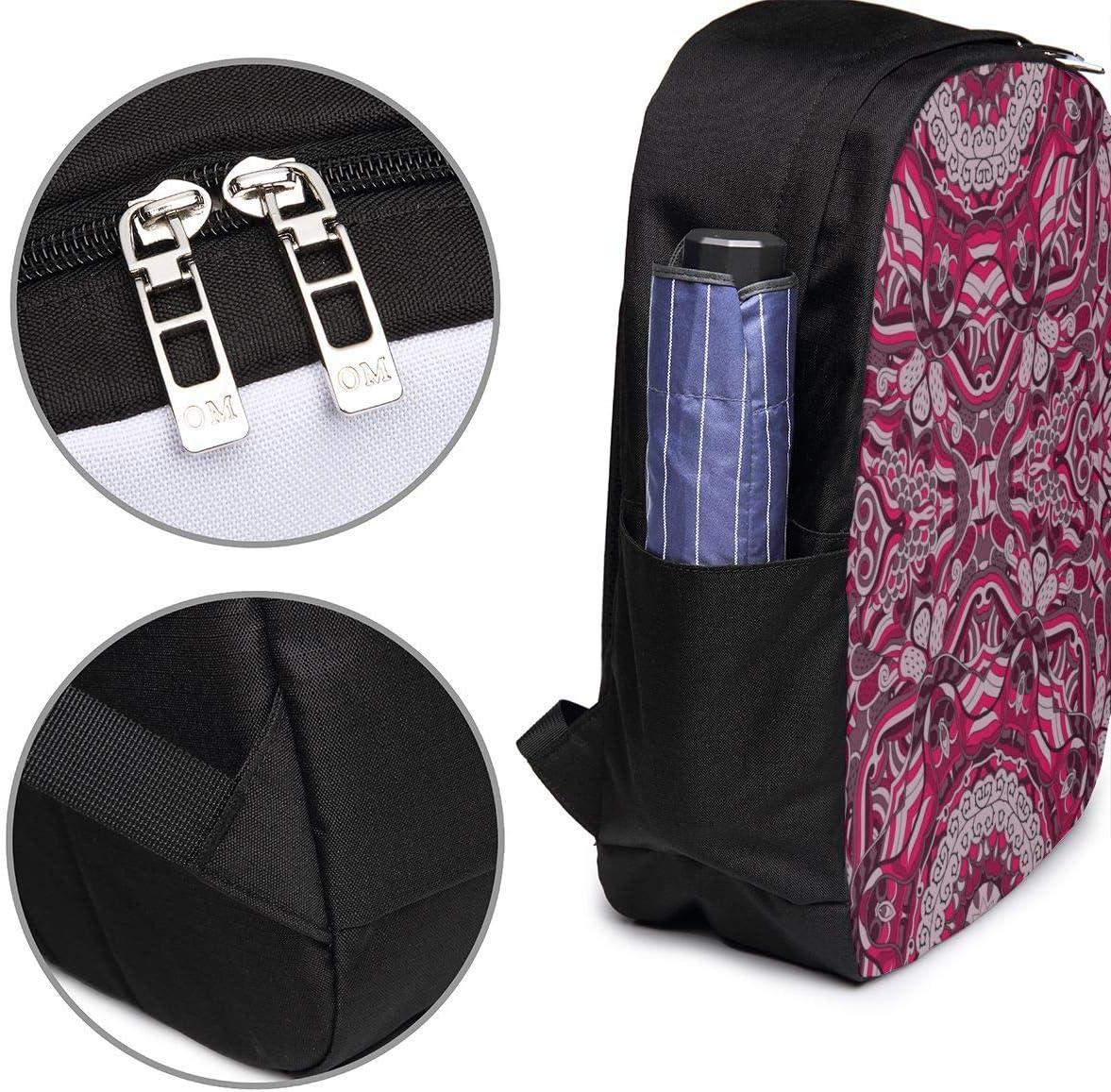 Ethnic Colorful Doodle Texture Laptop Backpack 17 Inch Business Travel Backpacks for Men Women Adjustable Shoulder Strap with USB Charging Port Black Mens and Womens Travel Daypack