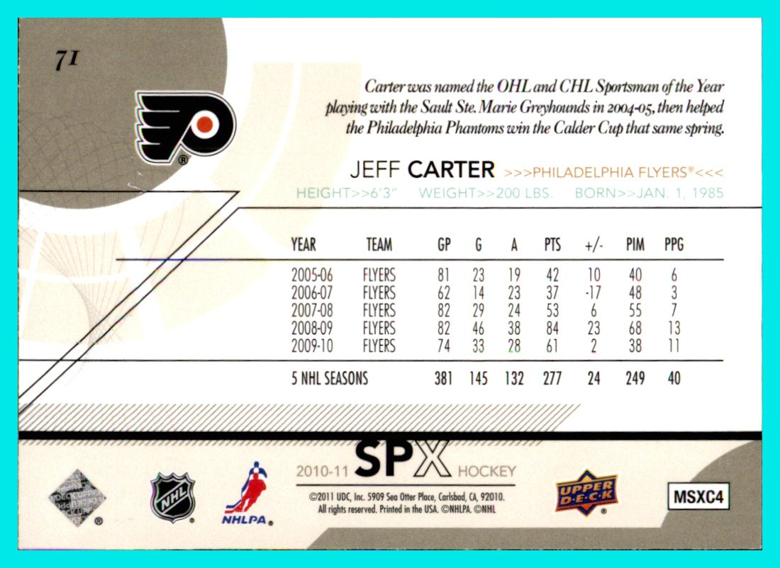2010-11 SPx #71 Jeff Carter PHILADELPHIA FLYERS currently with STANLEY CUP PLAYOFFS LOS ANGELES KINGS at Amazons Sports Collectibles Store