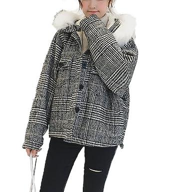 HANMAX Damen Mädchen Winterjacke Kurz Gitter Jacke Mantel