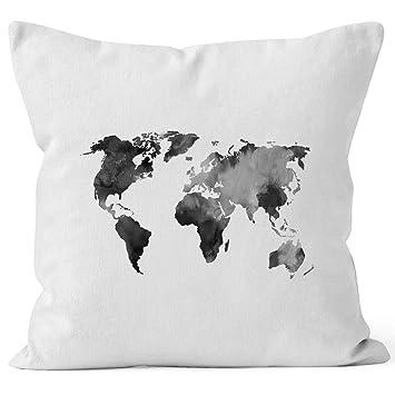 Autiga Kissenbezug Weltkarte Wasserfarben Watercolor World Map