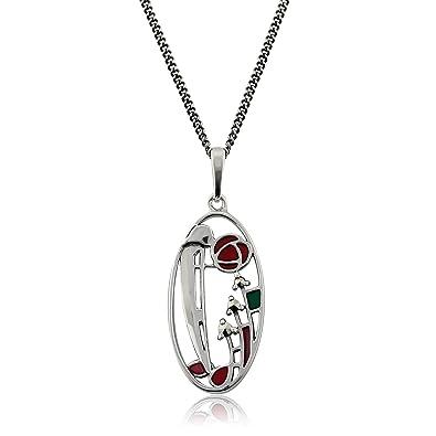 Gemondo 925 Sterling Silver 5.5pt Marcasite Rennie Mackintosh Style 45cm Necklace b88jq