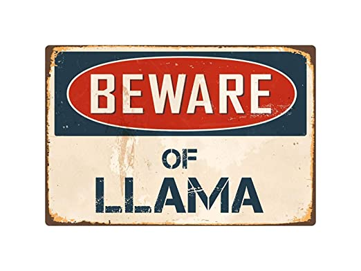 qidushop Beware of Llama Cartel de Metal Retro Vintage con ...