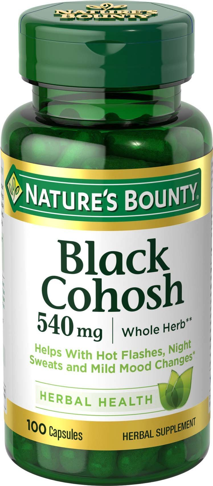 Nature's Bounty Black Cohosh Root Pills and Herbal Health Supplement, Natural Menopausal Support, 540 mg, 100 Capsules                Nature's Way Black Cohosh Root, 540 mg per serving, Non-GMO, Gluten Free, 180 Capsules                Nature's Way Standardized Black Cohosh, 2.5% Triterpene Glycosides per serving, 40 mg per serving, Non-GMO Project Verified, Gluten Free, Vegetarian, 120 Capsules                Estroven Menopause Relief + Mood Once-Daily Supplement - Helps Reduce Hot Flashes & Night Sweats - Helps Manage Mood Swings & Menopausal Anxiety - 30 Caplets