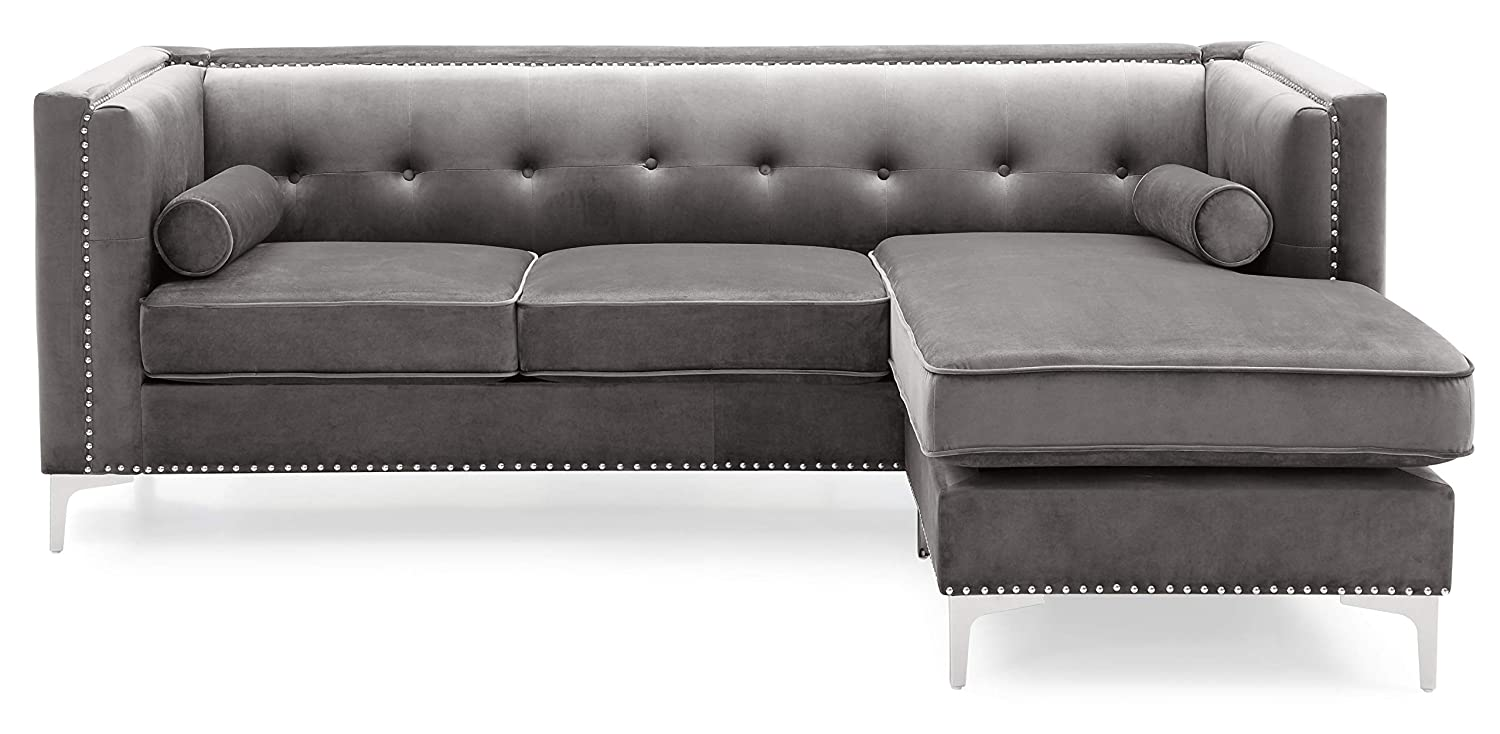 Amazon.com: Glory Furniture Capua , Dark Gray Sofa Chaise ...