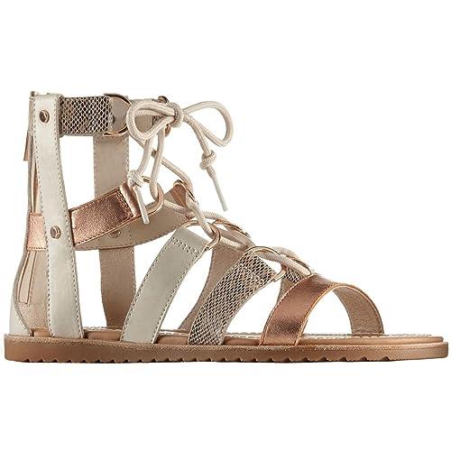 Discount Sorel Ella? Lace Up Beige Sandals for Women Sale