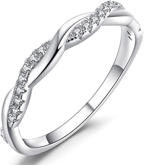 e652a0f4e052b Sterling Silver CZ Cubic Zirconia Diamond Ring for Wedding Anniversary  Jewelry, Size 5-11