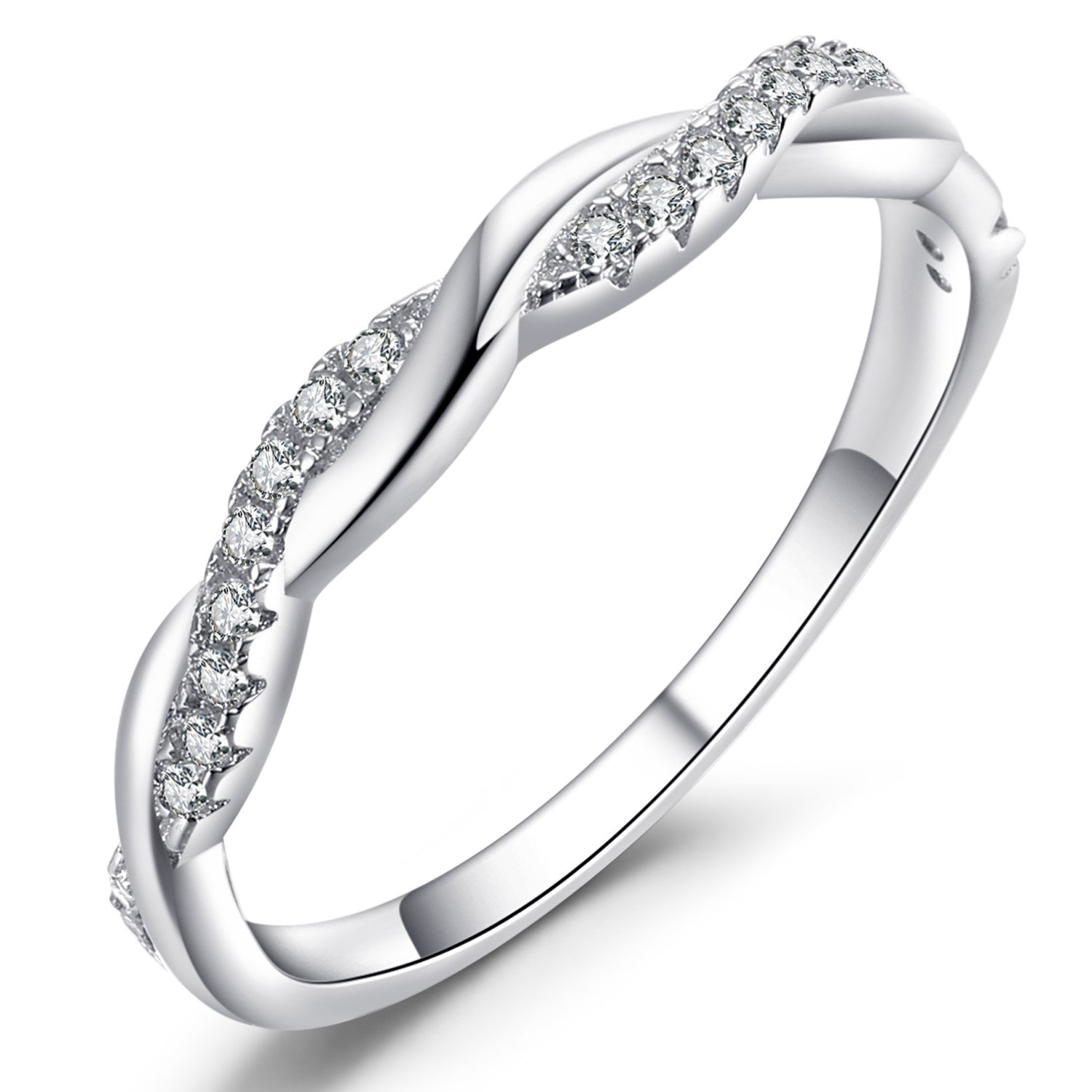Caperci Twisted Vine Sterling Silver Cubic Zirconia CZ Anniversary Wedding Band Ring for Women Size 6 by Caperci