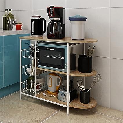 cocina creativa microondas parrilla del horno baja estante de almacenamiento en rack de almacenamiento de múltiples