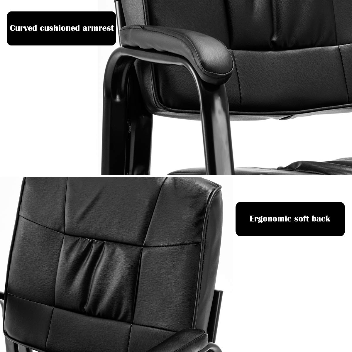 Giantex 2 PCS Reception Chair PU Leather Office Executive Ergonomic Guest Meeting Chair Brown