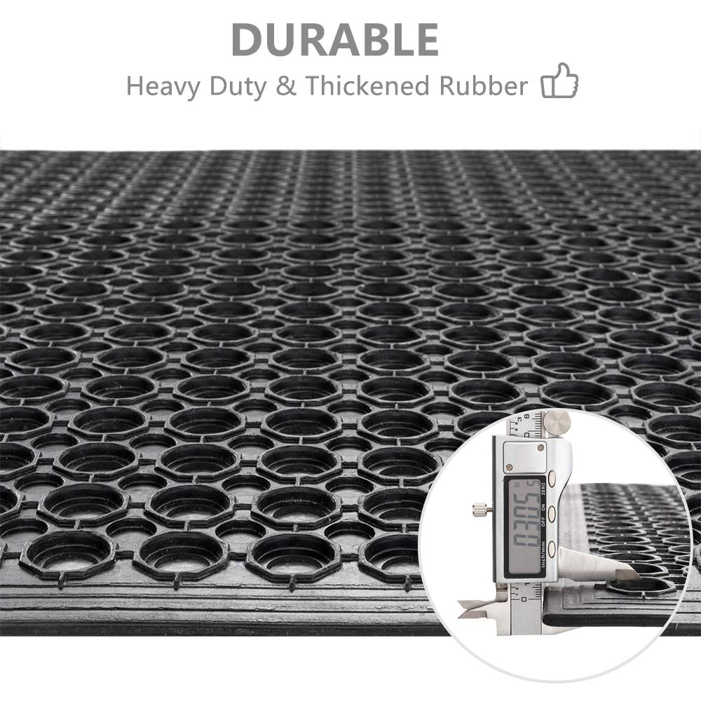 ROVSUN Rubber Floor Mat, 36''x60'' Anti-Fatigue/Non-Slip Drainage Mat, for Industrial Kitchen Restaurant Bar Bathroom, Indoor/Outdoor Cushion by ROVSUN (Image #5)