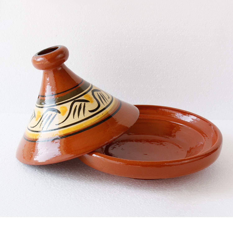 Casa Moro Marokkanische Tagine Tajine Beldi /Ø 26 cm zum Kochen Berber Tontopf Handmade Tuareg f/ür 2-3 Personen glasierter Gartopf aus Marrakesch