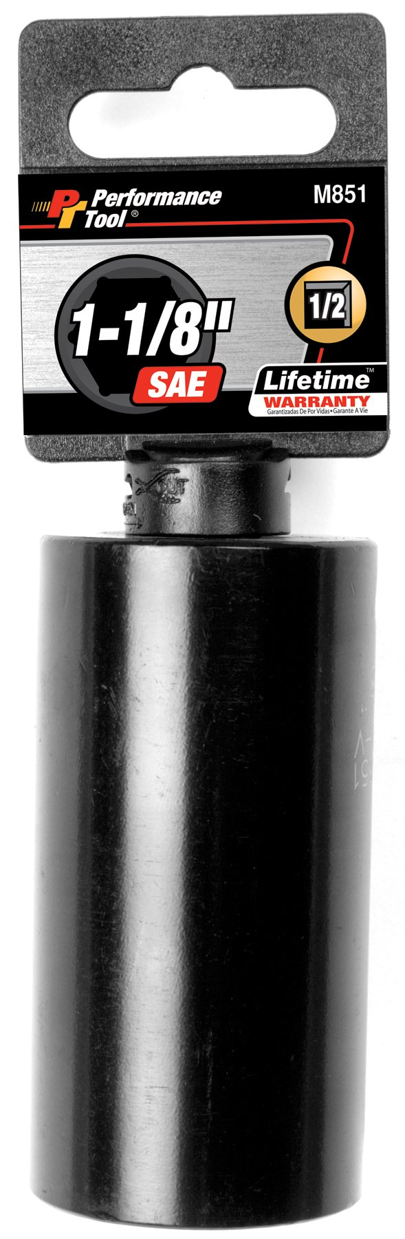 Performance Tool M851 1/2'' Dr. 6-Point Impact Socket, 1-1/8''