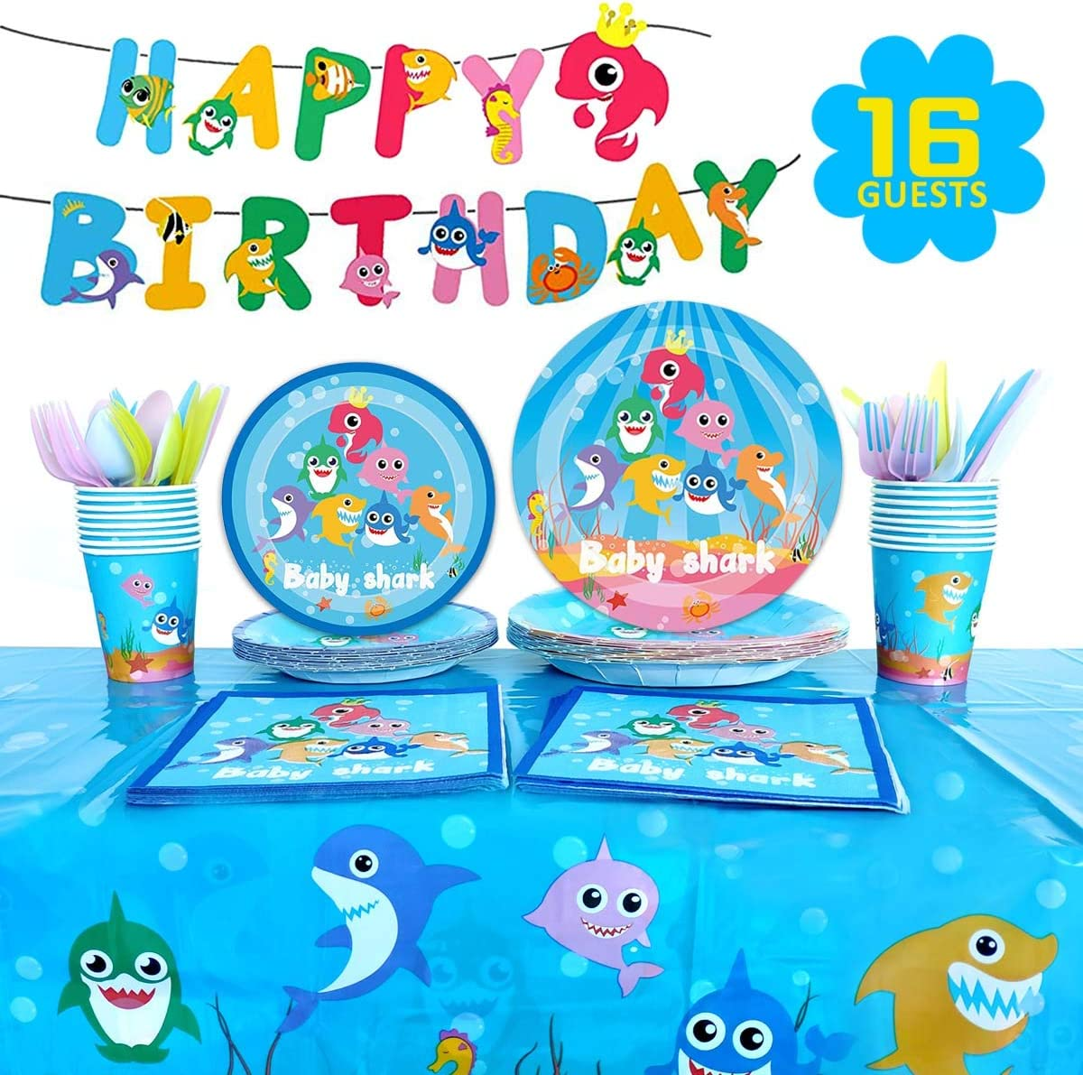 Baby Shark Party Supplies Tableware Serves 16 Guests for Kids Birthday Decorations,Include Dessert Plates Banner Cups Napkins Forks Tablecloth(114PCS)