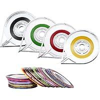 40 Pièces Striping Tape Bande de Striping Rouleau à Ongles Line pour Art et 4 Pièces Distributeurs de Rouleaux de Ruban, Couleurs Assorties