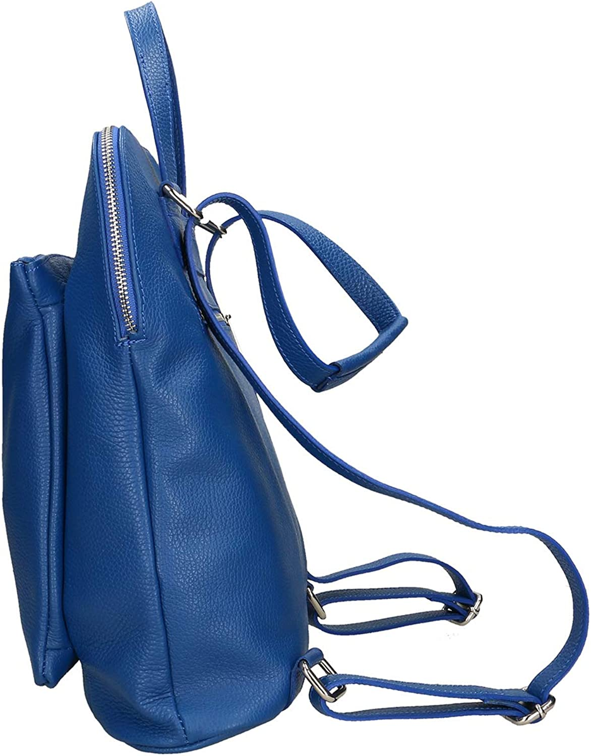 Chicca Borse Zaino in vera pelle made in Italy - 34x28x10 Cm Bluette