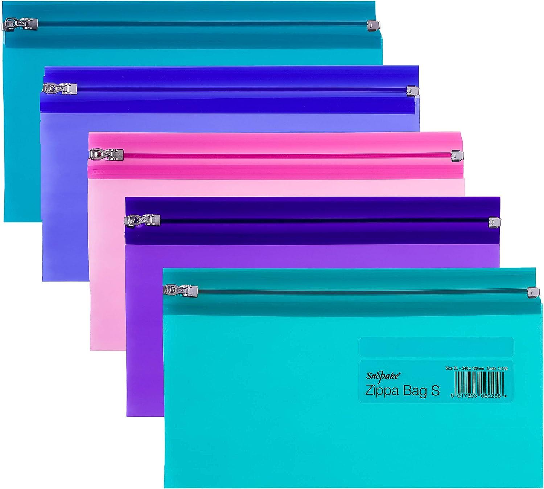 Snopake Zippa Bag 'S' - Bolsa con cierre por cursor (5 unidades, DL, 240 x 130 mm), diseño transparente, multicolor