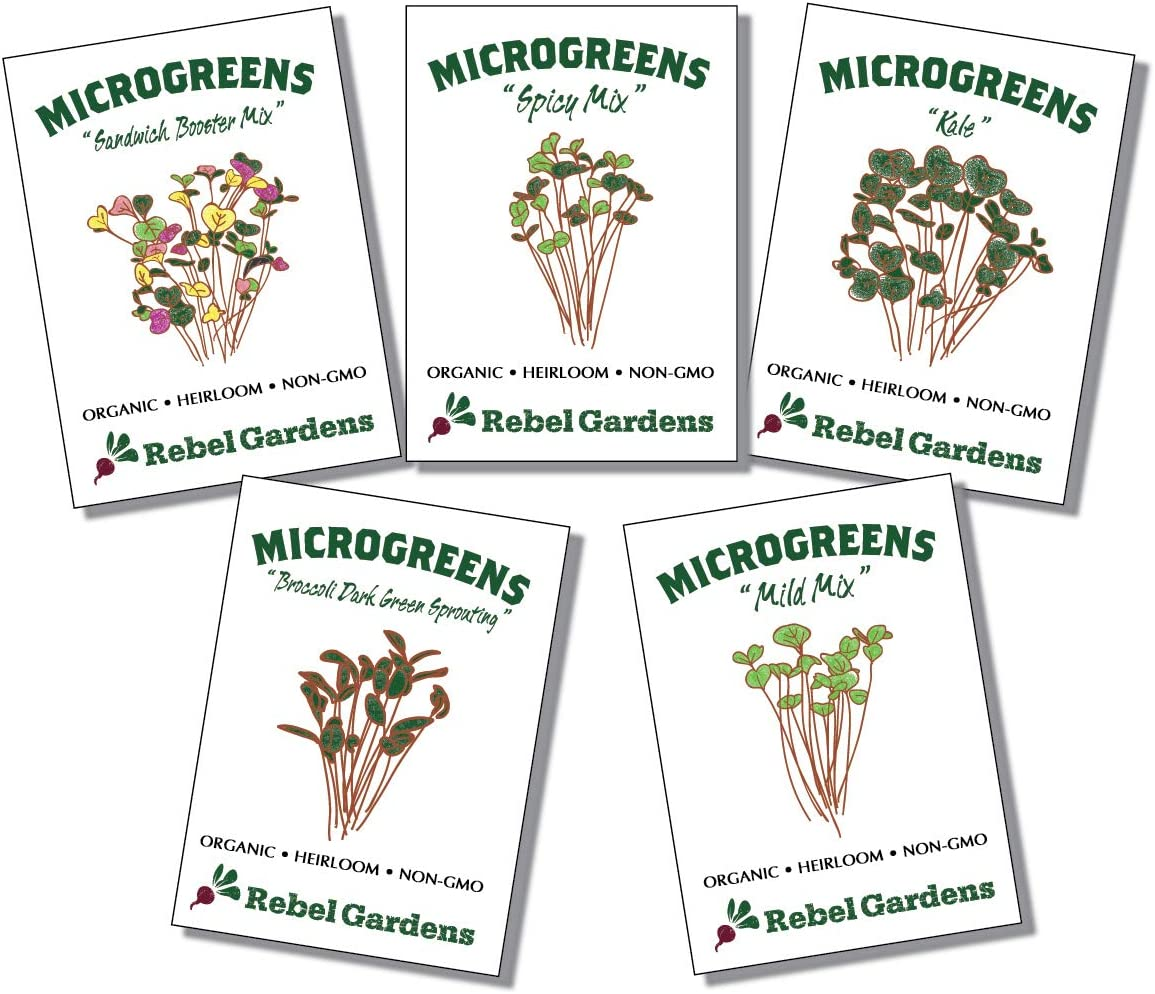Organic Microgreen Seeds - Non-GMO Microgreens Sprouting Kit - Broccoli, Kale, Spicy, Mild, and Sandwhich Mix for Planting Indoor Sprouts