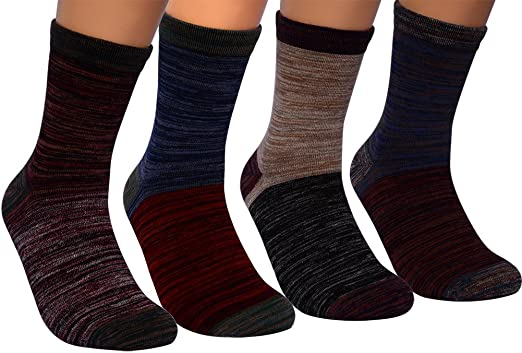 Mens Dress Socks,4 Pairs Colorful Combed Cotton Winter Outdoor Keep Warm Crew Socks