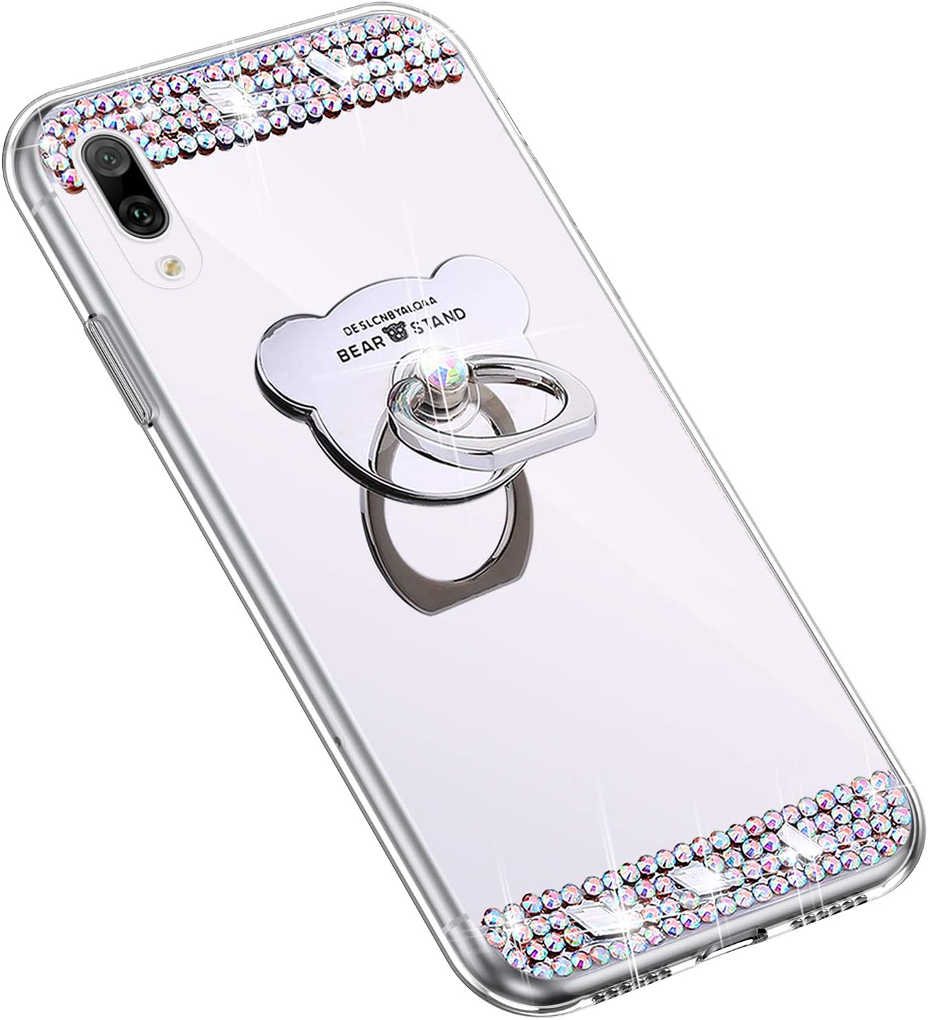 Herbests Compatible with Huawei Y7 Pro 2019 Glitter Case with Bear Ring Holder Stand Luxury Bling Rhinestone Mirror Makeup Case Diamond Crystal Cute Silicone Plating Rubber Case,Rose Gold