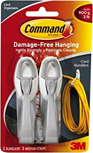 Command Cord Bundlers, White, 6-PACK