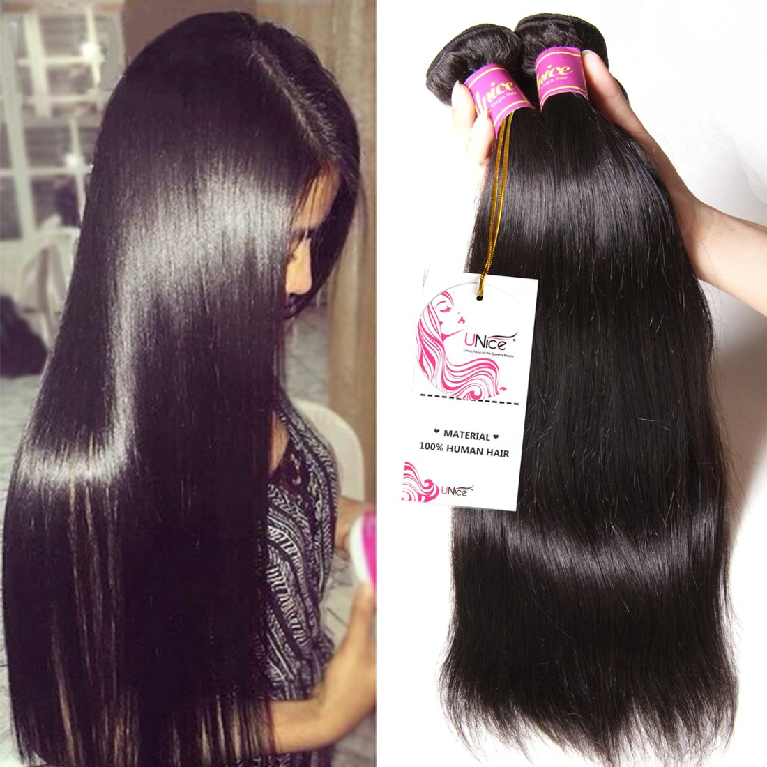 Unice Hair 7a Malaysian Straight Hair 3 Bundles Virgin Unprocessed Human Hair Wefts Hair Extensions Deal with Mixed Lengths 100% Human Hair Extensions (16 18 20, Natural Black)