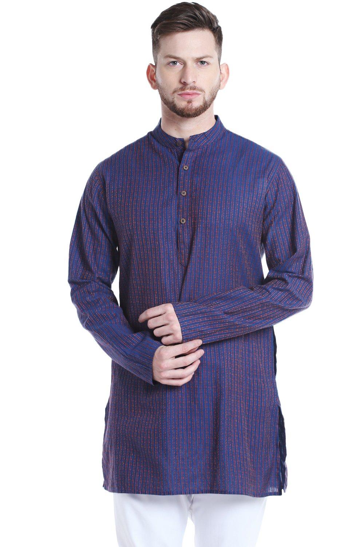 Shatranj Men's Indian Mandarin Collar Mid-Length Fine Stripe Kurta Tunic; Blue; MD