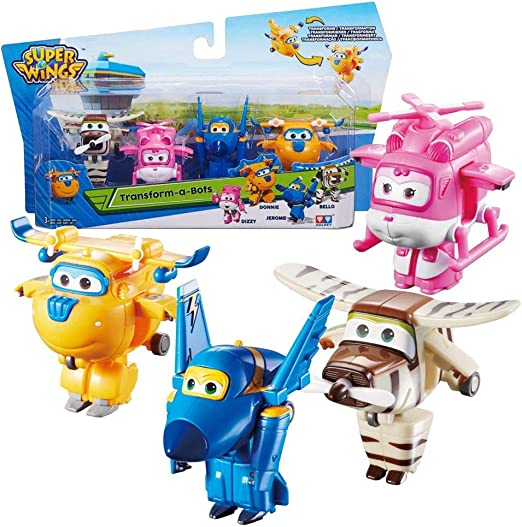 Super Wings Aviones Jerome, Donnie, Dizzy, Bello Set Mini Transform: Amazon.es: Juguetes y juegos