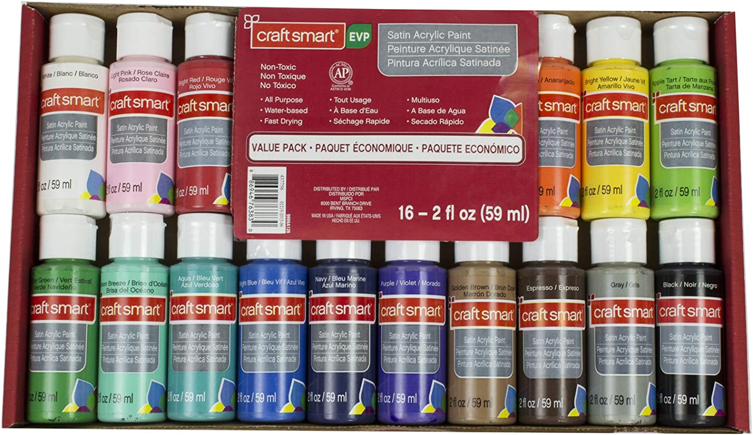Multi-Surface Satin Acrylic Paint Value Pack by Craft Smart, 16 Colors, 2 oz.
