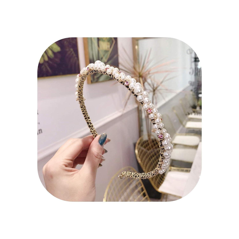 Korea Pearl Diamond Beading Hairbands Hair Accessories Crystal Hair Bows Flower Crown Headbands For Women 4,1