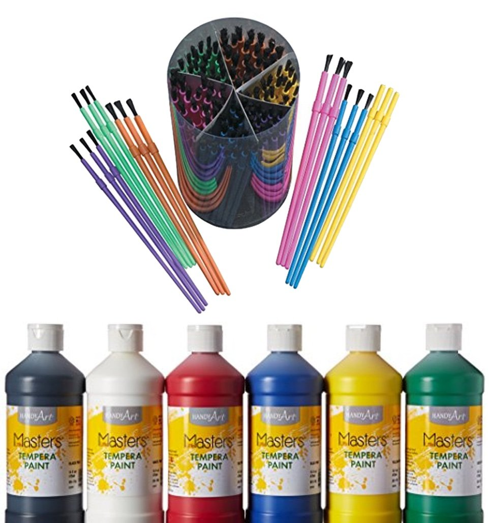 Bundle Includes 2 Items - School Smart Plastic Paint Brush Set - Assorted Sizes - Pack of 144 - Assorted Colors and Handy Art Little Masters Tempera Paints Set, 16 oz, Pack of 6 .