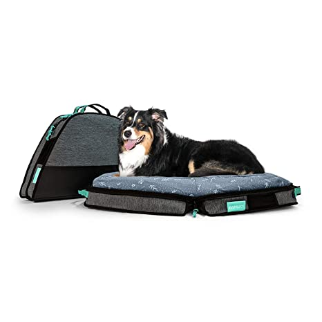 Travel Dog Bed >> Spruce Pup Indoor Outdoor Travel Dog Pet Bed With Foldable Supportive Foam Removable Machine Washable Waterproof Fitted Soft Faux Suede Quilted