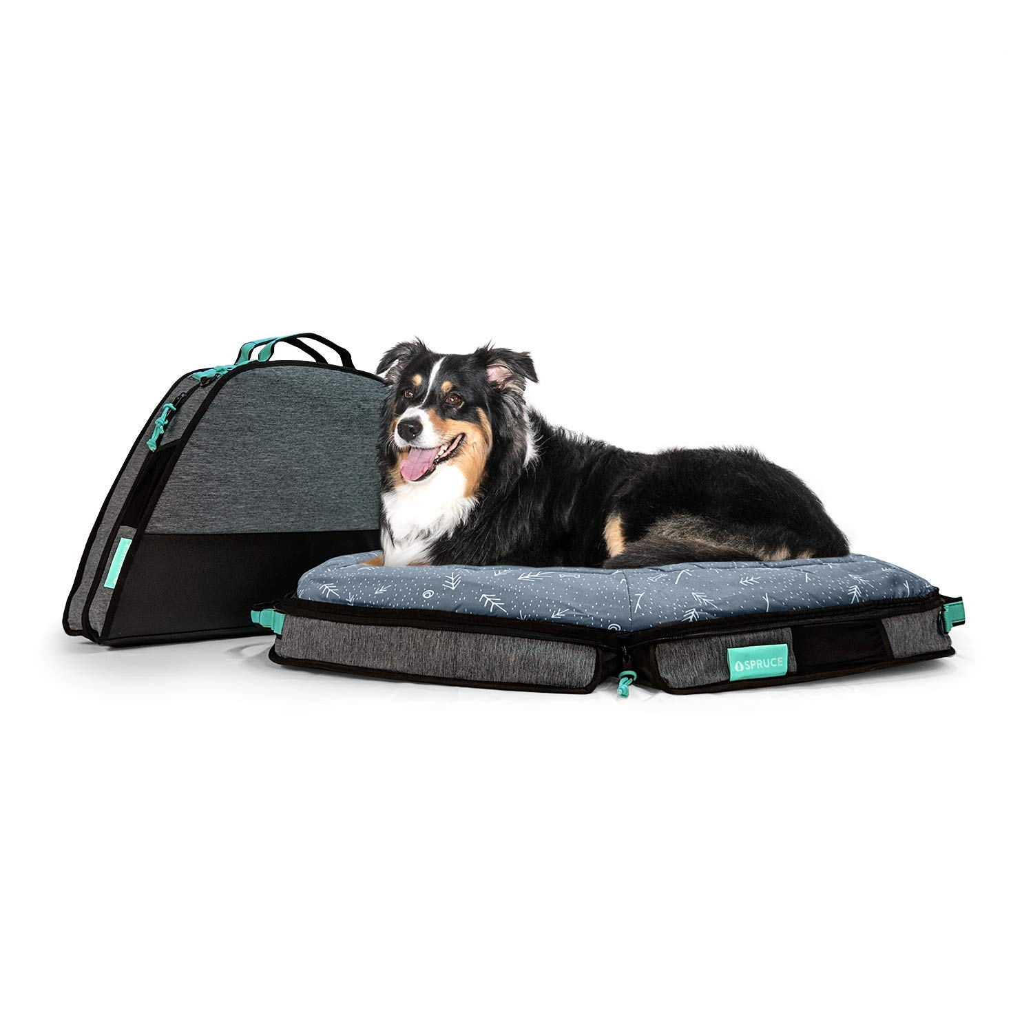 Spruce Pup Indoor/Outdoor Travel Dog Pet Bed - with Foldable, Supportive Foam & Removable Machine Washable Waterproof Fitted Soft Faux-Suede Quilted Sheets, Small Medium Large Sizes