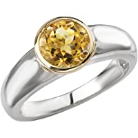 Element Jewelry 925-Sterling yellow-gold-and-sterling-silver round-brilliant-shape yellow citrine